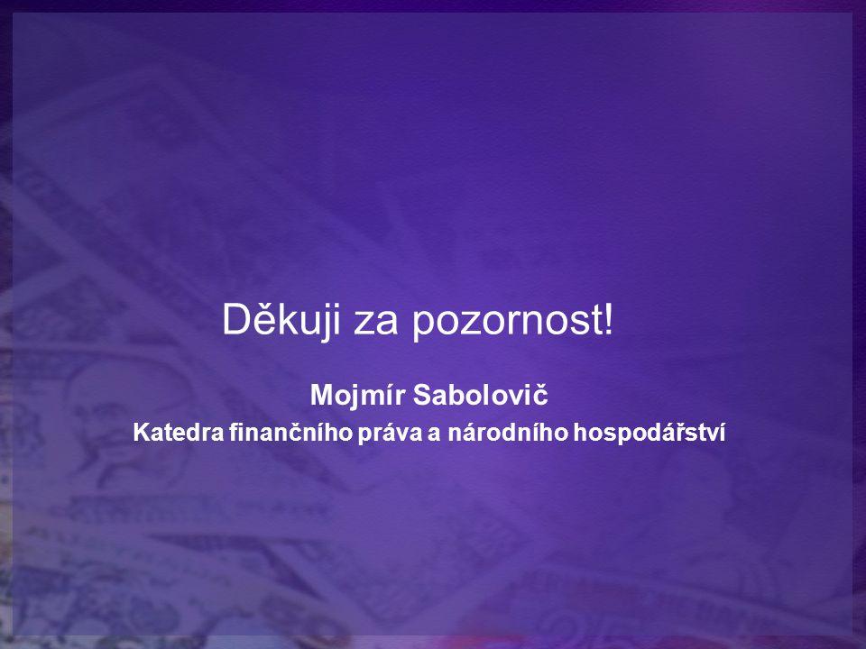 Děkuji za pozornost! Mojmír Sabolovič Katedra finančního práva a národního hospodářství