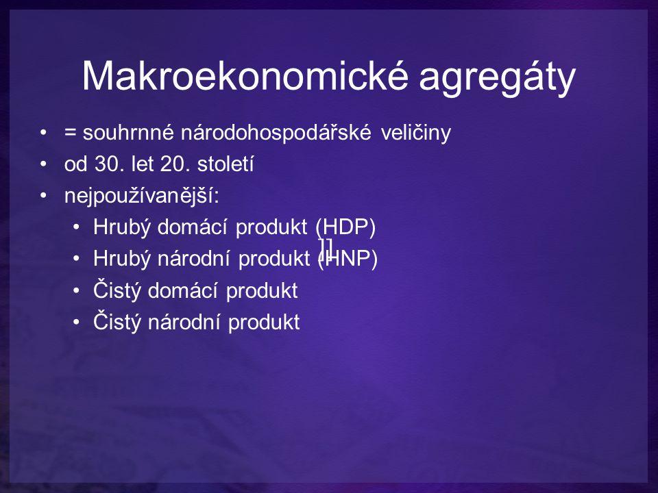 Hrubý domácí produkt Součet peněžních hodnot finálních (konečných) výrobků a služeb, vyprodukovaných během jednoho roku výrobními faktory alokovanými v dané zemi (bez ohledu na to, kdo tyto faktory vlastní).