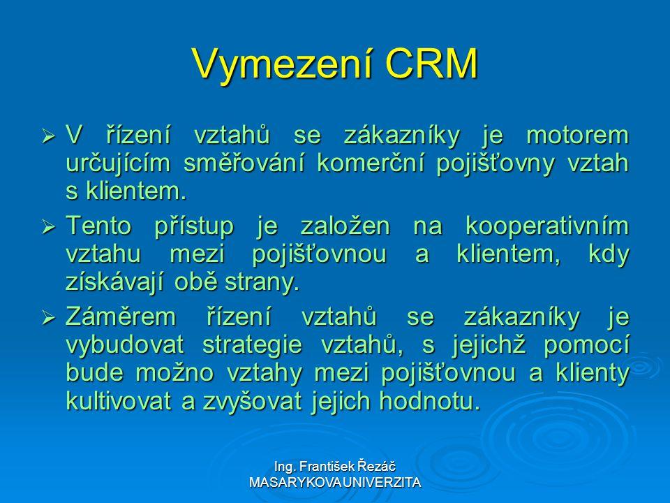 Ing. František Řezáč MASARYKOVA UNIVERZITA Vymezení CRM  V řízení vztahů se zákazníky je motorem určujícím směřování komerční pojišťovny vztah s klie
