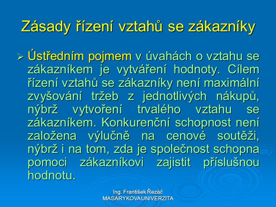 Ing. František Řezáč MASARYKOVA UNIVERZITA Zásady řízení vztahů se zákazníky  Ústředním pojmem v úvahách o vztahu se zákazníkem je vytváření hodnoty.