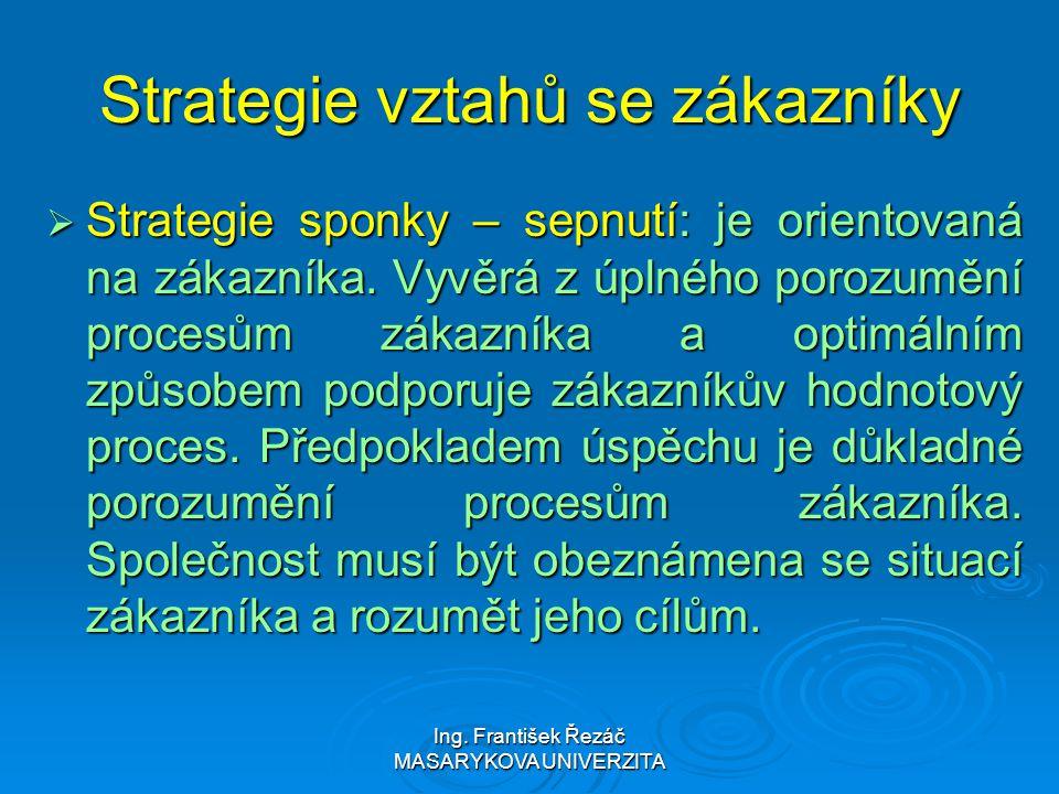 Ing. František Řezáč MASARYKOVA UNIVERZITA Strategie vztahů se zákazníky  Strategie sponky – sepnutí: je orientovaná na zákazníka. Vyvěrá z úplného p