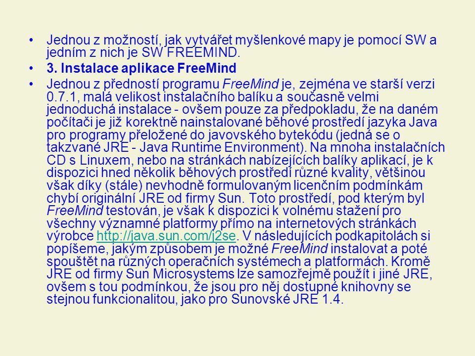 Jednou z možností, jak vytvářet myšlenkové mapy je pomocí SW a jedním z nich je SW FREEMIND. 3. Instalace aplikace FreeMind Jednou z předností program