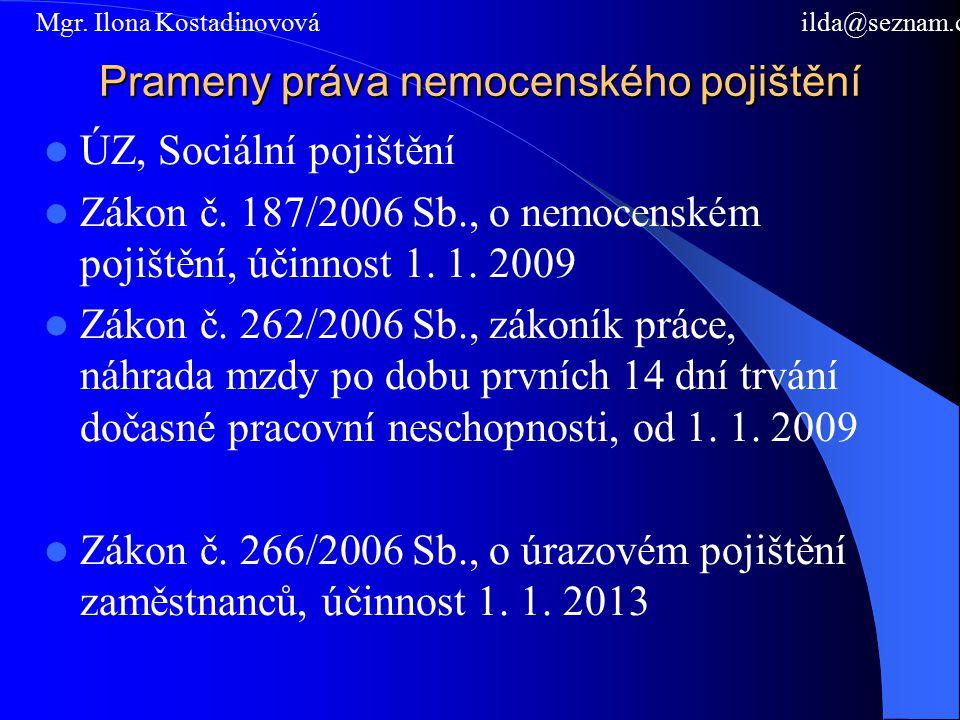 Prameny práva nemocenského pojištění ÚZ, Sociální pojištění Zákon č.