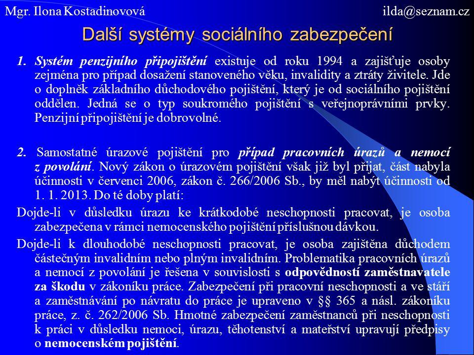 Další systémy sociálního zabezpečení 1.