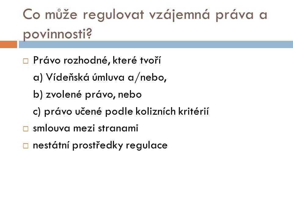 Co může regulovat vzájemná práva a povinnosti?  Právo rozhodné, které tvoří a) Vídeňská úmluva a/nebo, b) zvolené právo, nebo c) právo učené podle ko