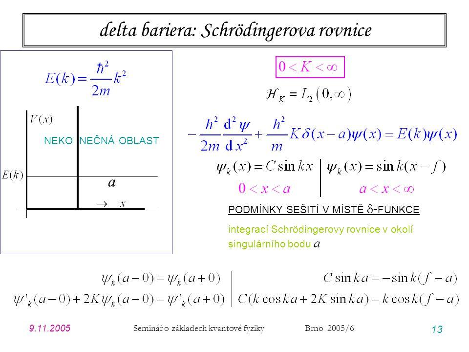 9.11.2005 Seminář o základech kvantové fyziky Brno 2005/6 13 delta bariera: Schrödingerova rovnice a NEKO NEČNÁ OBLAST PODMÍNKY SEŠITÍ V MÍSTĚ  - FUN