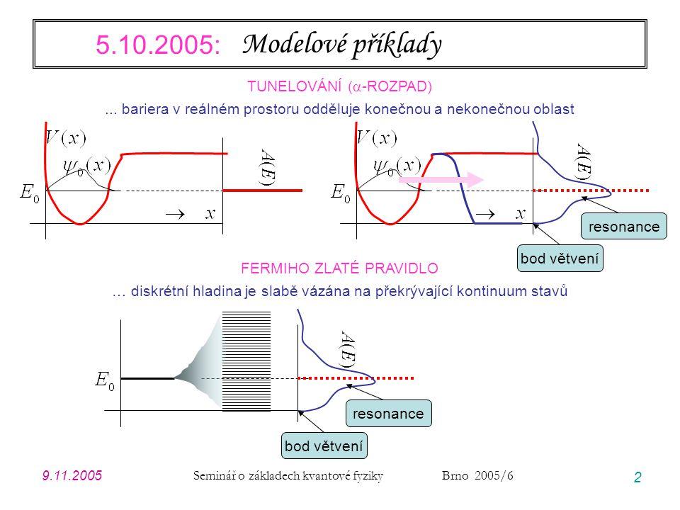 9.11.2005 Seminář o základech kvantové fyziky Brno 2005/6 2 Modelové příklady TUNELOVÁNÍ (  -ROZPAD)... bariera v reálném prostoru odděluje konečnou