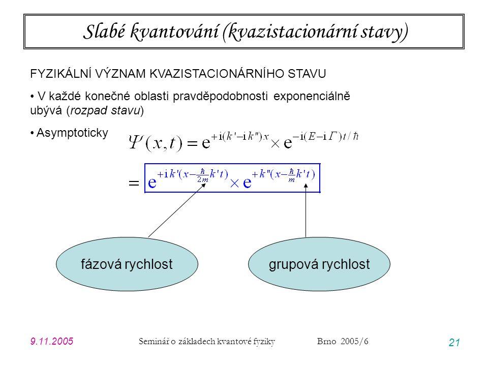 9.11.2005 Seminář o základech kvantové fyziky Brno 2005/6 21 Slabé kvantování (kvazistacionární stavy) FYZIKÁLNÍ VÝZNAM KVAZISTACIONÁRNÍHO STAVU V kaž
