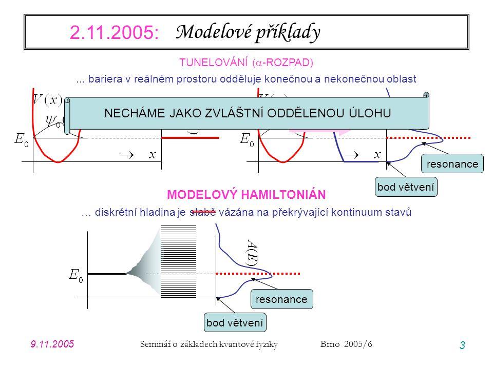9.11.2005 Seminář o základech kvantové fyziky Brno 2005/6 3 Modelové příklady TUNELOVÁNÍ (  -ROZPAD)... bariera v reálném prostoru odděluje konečnou