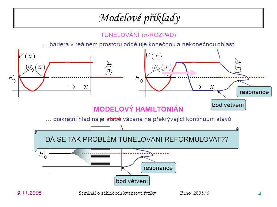 9.11.2005 Seminář o základech kvantové fyziky Brno 2005/6 4 Modelové příklady TUNELOVÁNÍ (  -ROZPAD)... bariera v reálném prostoru odděluje konečnou