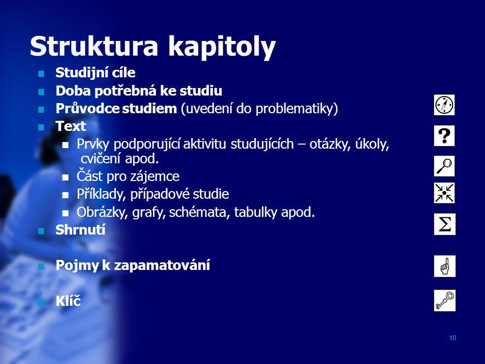 10 Struktura kapitoly Studijní cíle Doba potřebná ke studiu Průvodce studiem (uvedení do problematiky) Text Prvky podporující aktivitu studujících – o