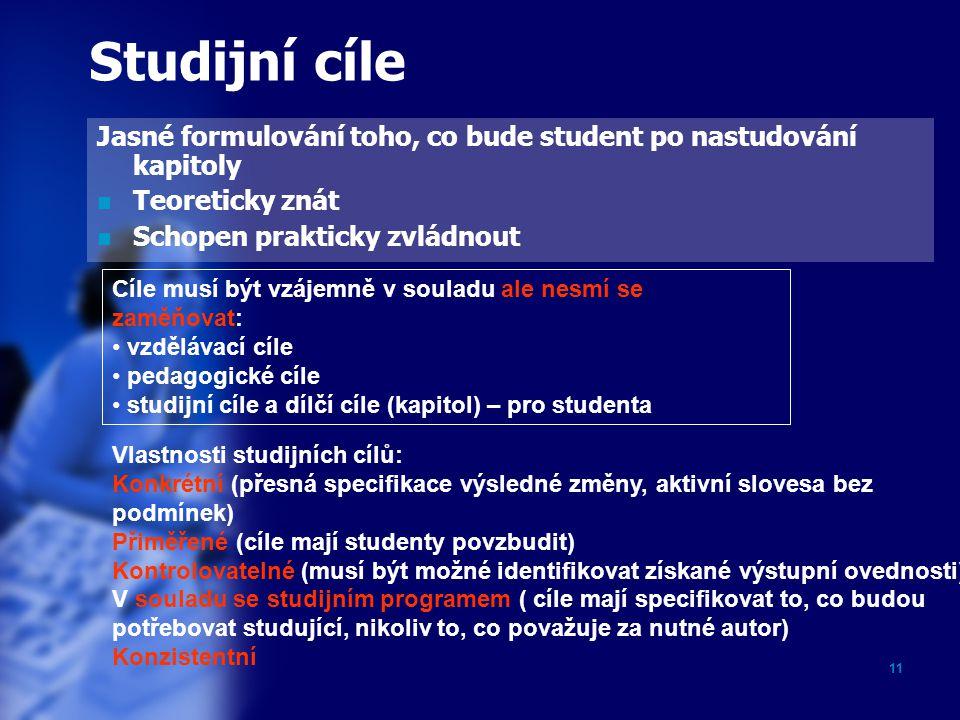 11 Studijní cíle Jasné formulování toho, co bude student po nastudování kapitoly Teoreticky znát Schopen prakticky zvládnout Cíle musí být vzájemně v