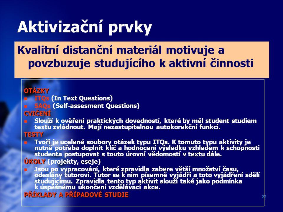 23 Aktivizační prvky Kvalitní distanční materiál motivuje a povzbuzuje studujícího k aktivní činnosti OTÁZKY ITQs (In Text Questions) SAQs (Self-asses