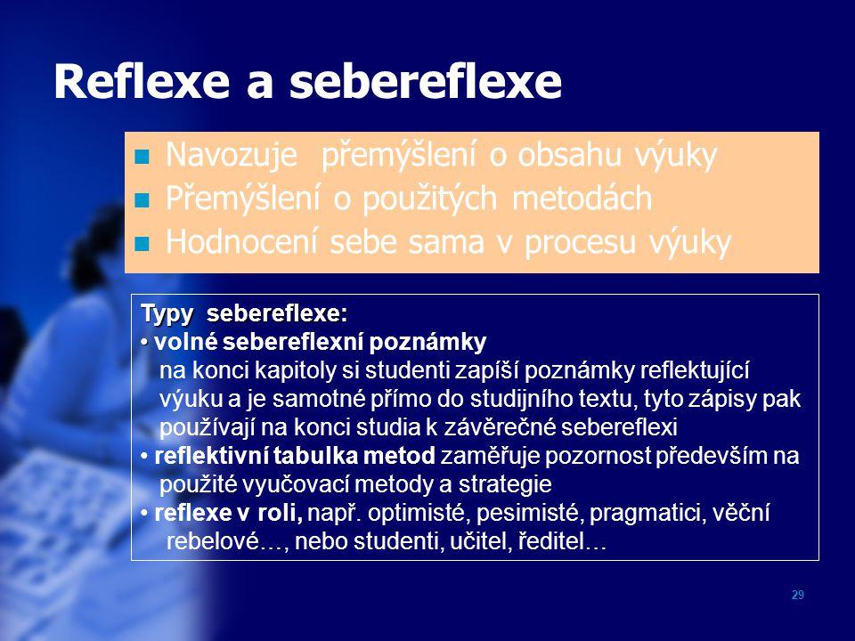 29 Reflexe a sebereflexe Navozuje přemýšlení o obsahu výuky Přemýšlení o použitých metodách Hodnocení sebe sama v procesu výuky Typy sebereflexe: voln