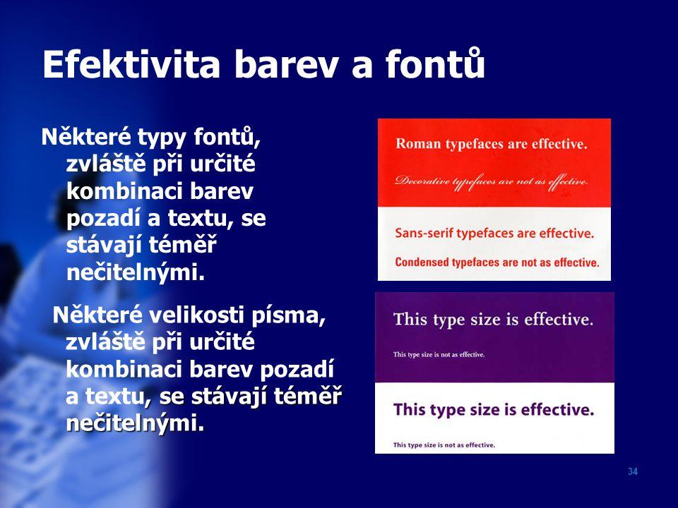 34 Efektivita barev a fontů Některé typy fontů, zvláště při určité kombinaci barev pozadí a textu, se stávají téměř nečitelnými. Některé velikosti pís