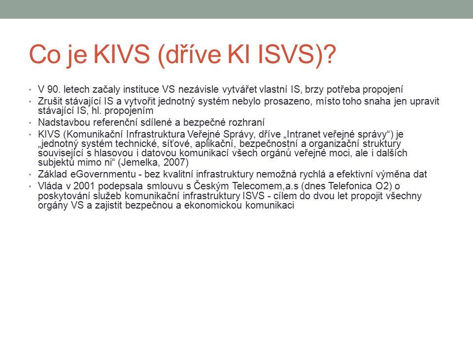 Co je KIVS (dříve KI ISVS)? V 90. letech začaly instituce VS nezávisle vytvářet vlastní IS, brzy potřeba propojení Zrušit stávající IS a vytvořit jedn