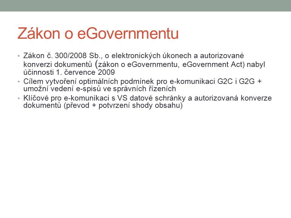 Zákon o eGovernmentu Zákon č. 300/2008 Sb., o elektronických úkonech a autorizované konverzi dokumentů ( zákon o eGovernmentu, eGovernment Act) nabyl