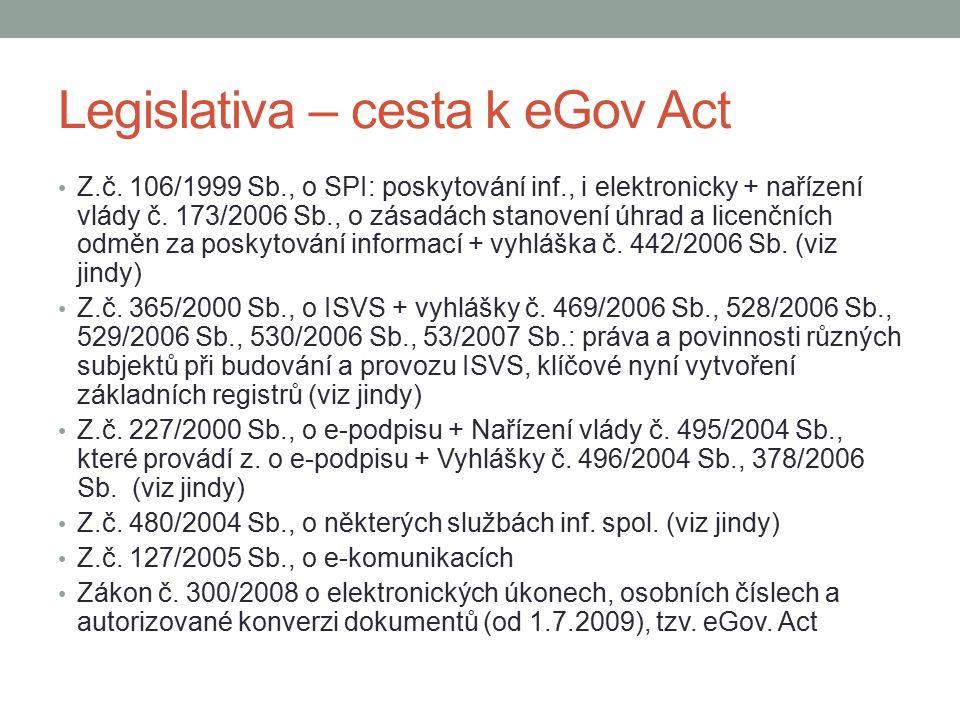 Legislativa – cesta k eGov Act Z.č. 106/1999 Sb., o SPI: poskytování inf., i elektronicky + nařízení vlády č. 173/2006 Sb., o zásadách stanovení úhrad