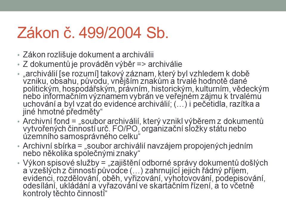 """Zákon č. 499/2004 Sb. Zákon rozlišuje dokument a archiválii Z dokumentů je prováděn výběr => archiválie """"archiválií [se rozumí] takový záznam, který b"""