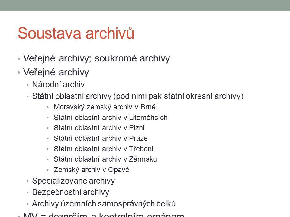 Soustava archivů Veřejné archivy; soukromé archivy Veřejné archivy Národní archiv Státní oblastní archivy (pod nimi pak státní okresní archivy) Moravs