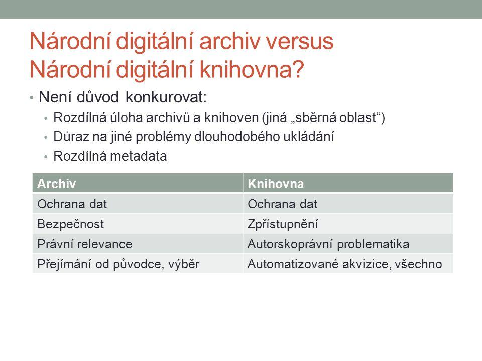 """Národní digitální archiv versus Národní digitální knihovna? Není důvod konkurovat: Rozdílná úloha archivů a knihoven (jiná """"sběrná oblast"""") Důraz na j"""