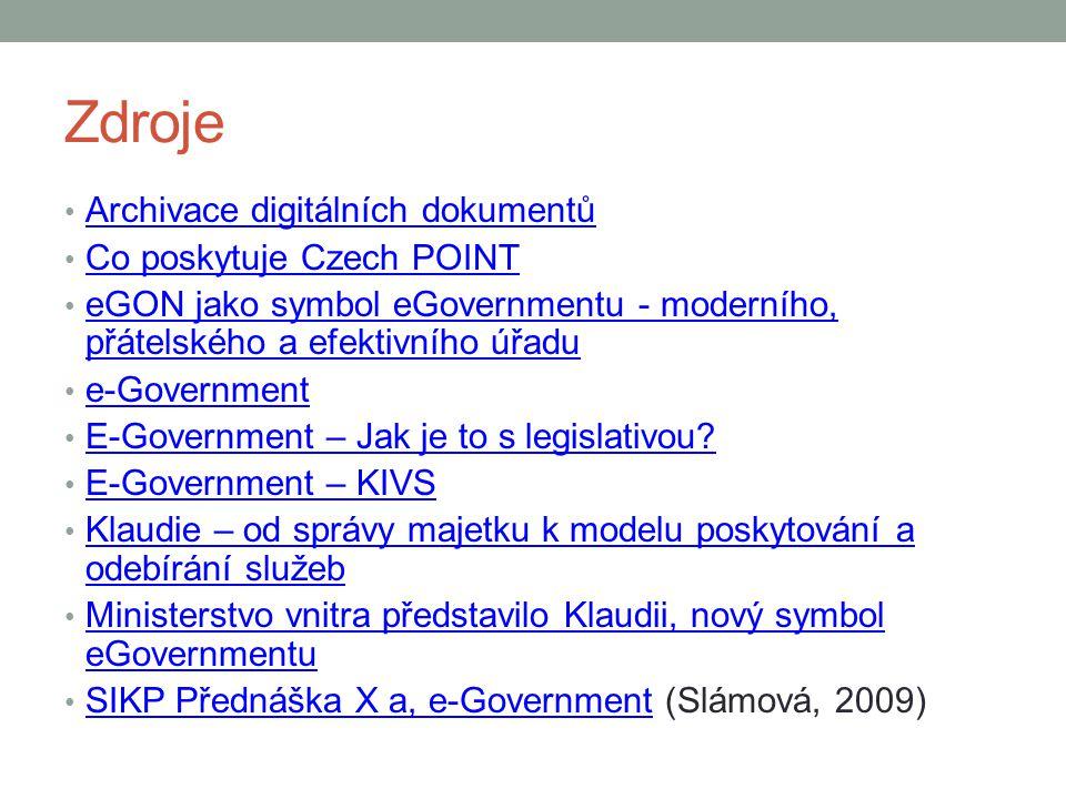 Zdroje Archivace digitálních dokumentů Co poskytuje Czech POINT eGON jako symbol eGovernmentu - moderního, přátelského a efektivního úřadu eGON jako symbol eGovernmentu - moderního, přátelského a efektivního úřadu e-Government E-Government – Jak je to s legislativou.