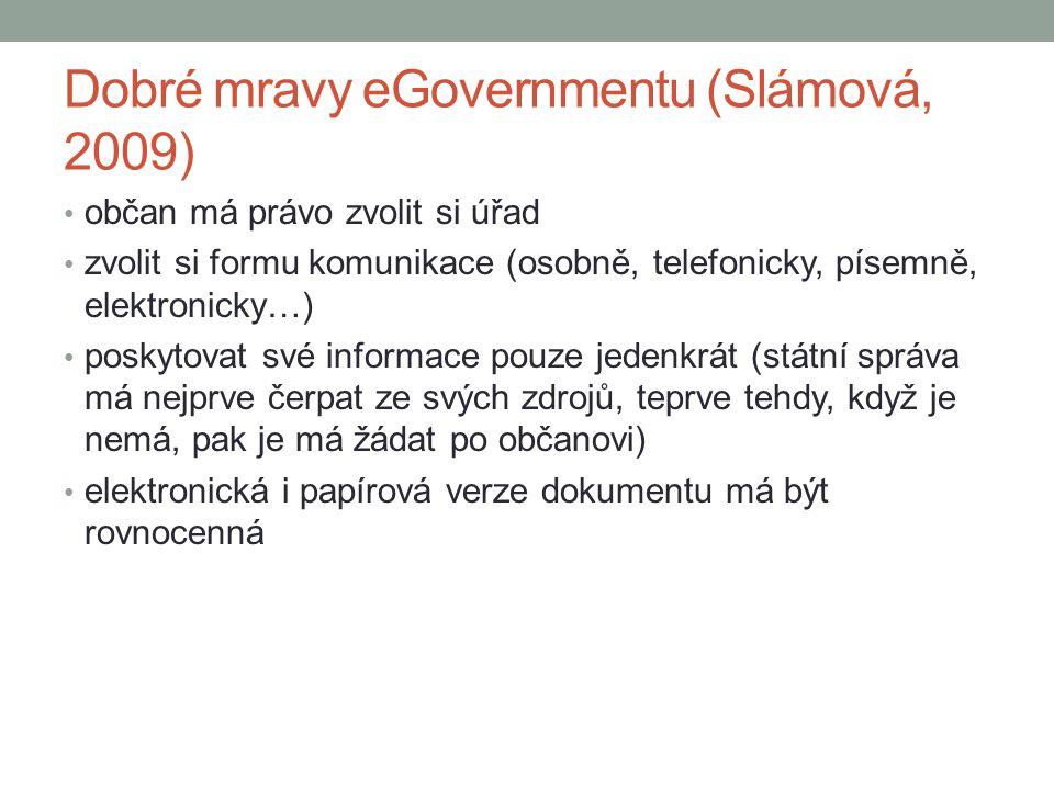 Dobré mravy eGovernmentu (Slámová, 2009) občan má právo zvolit si úřad zvolit si formu komunikace (osobně, telefonicky, písemně, elektronicky…) poskyt
