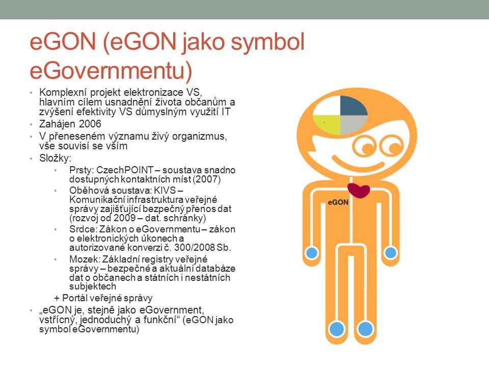 eGON (eGON jako symbol eGovernmentu) Komplexní projekt elektronizace VS, hlavním cílem usnadnění života občanům a zvýšení efektivity VS důmyslným využití IT Zahájen 2006 V přeneseném významu živý organizmus, vše souvisí se vším Složky: Prsty: CzechPOINT – soustava snadno dostupných kontaktních míst (2007) Oběhová soustava: KIVS – Komunikační infrastruktura veřejné správy zajišťující bezpečný přenos dat (rozvoj od 2009 – dat.