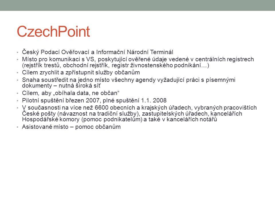 CzechPoint Český Podací Ověřovací a Informační Národní Terminál Místo pro komunikaci s VS, poskytující ověřené údaje vedené v centrálních registrech (