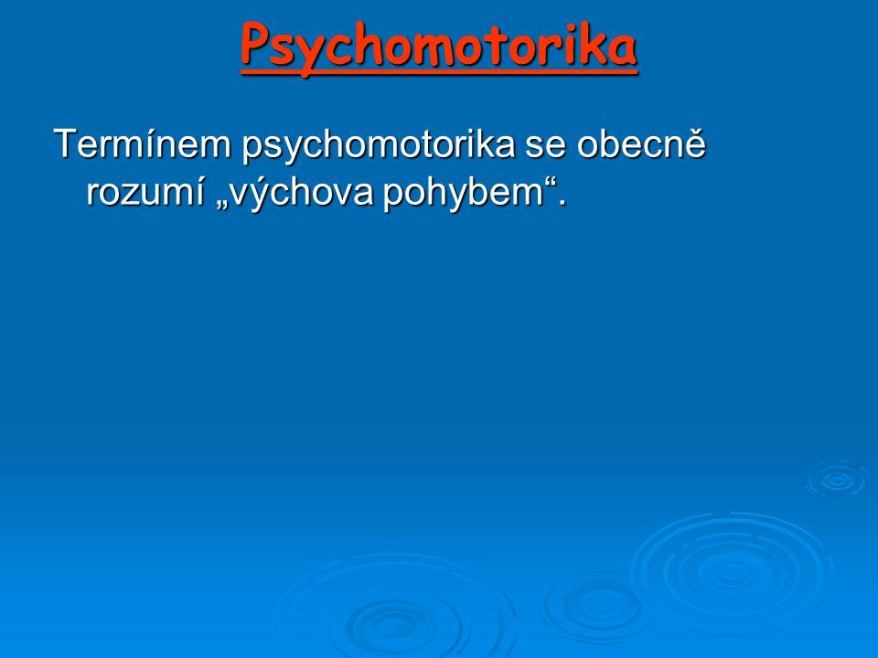 """Psychomotorika Termínem psychomotorika se obecně rozumí """"výchova pohybem ."""
