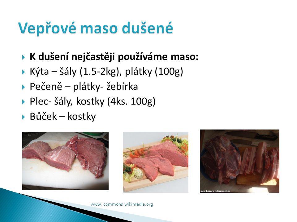  maso krájíme na kusy o velikosti asi 1,5 kg  nebo na plátky, žebírka(100-150g)nebo na kostky(100g).