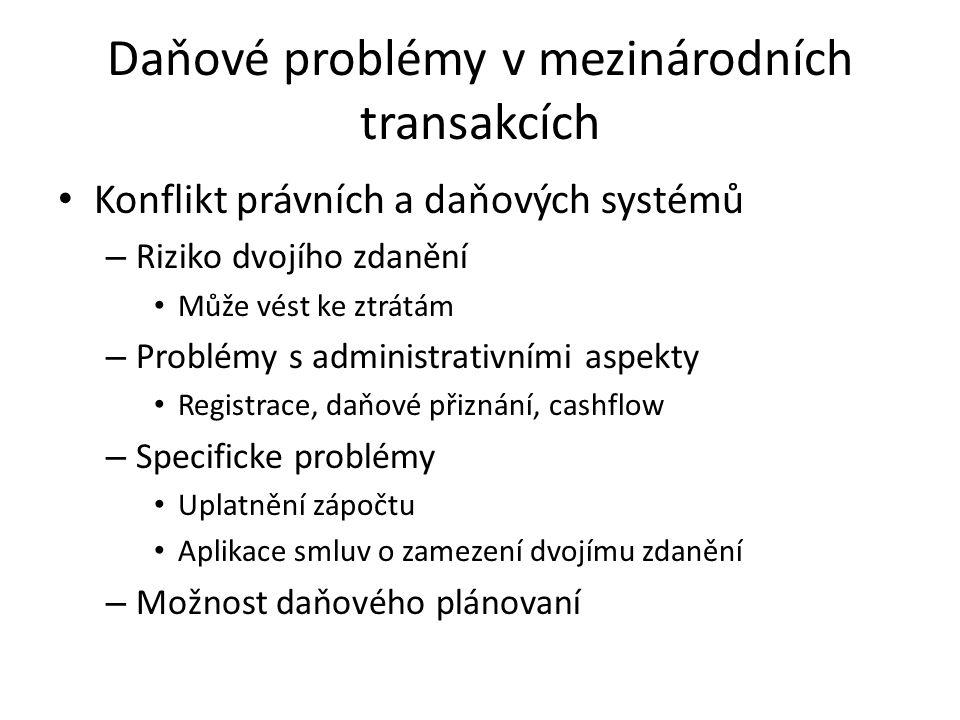 Daňové problémy v mezinárodních transakcích Konflikt právních a daňových systémů – Riziko dvojího zdanění Může vést ke ztrátám – Problémy s administrativními aspekty Registrace, daňové přiznání, cashflow – Specificke problémy Uplatnění zápočtu Aplikace smluv o zamezení dvojímu zdanění – Možnost daňového plánovaní