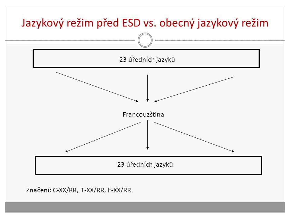 Jazykový režim před ESD vs. obecný jazykový režim 23 úředních jazyků Francouzština Značení: C-XX/RR, T-XX/RR, F-XX/RR