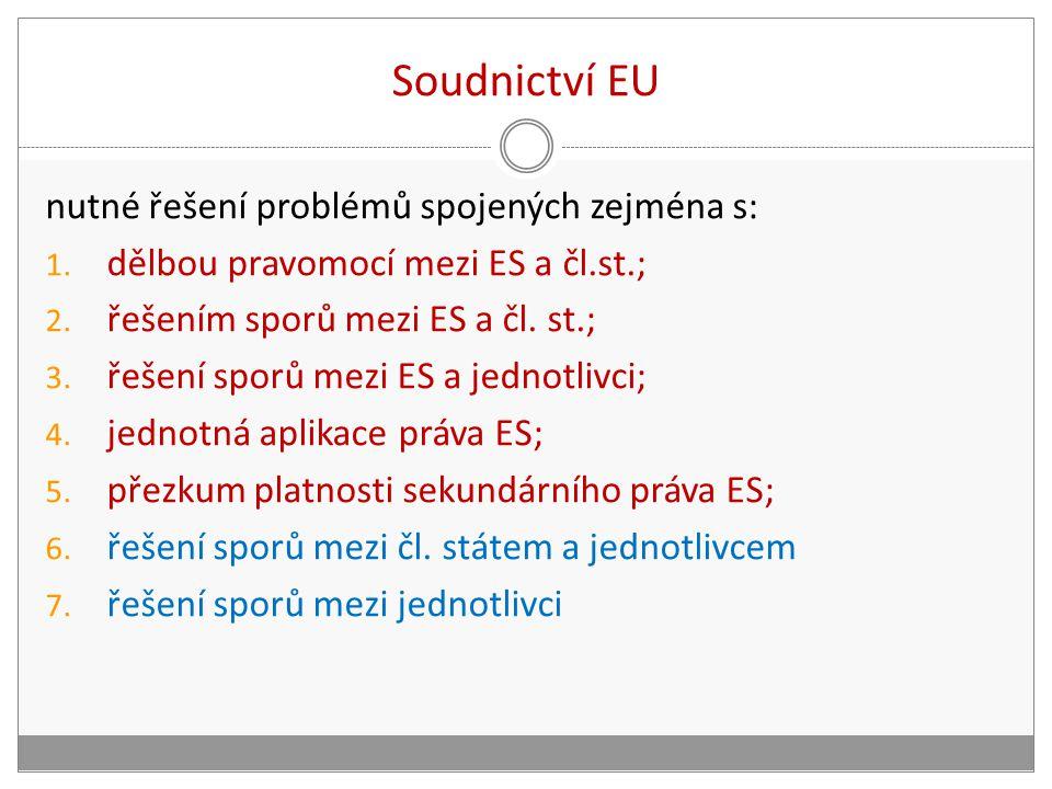 Soudnictví EU nutné řešení problémů spojených zejména s: 1. dělbou pravomocí mezi ES a čl.st.; 2. řešením sporů mezi ES a čl. st.; 3. řešení sporů mez