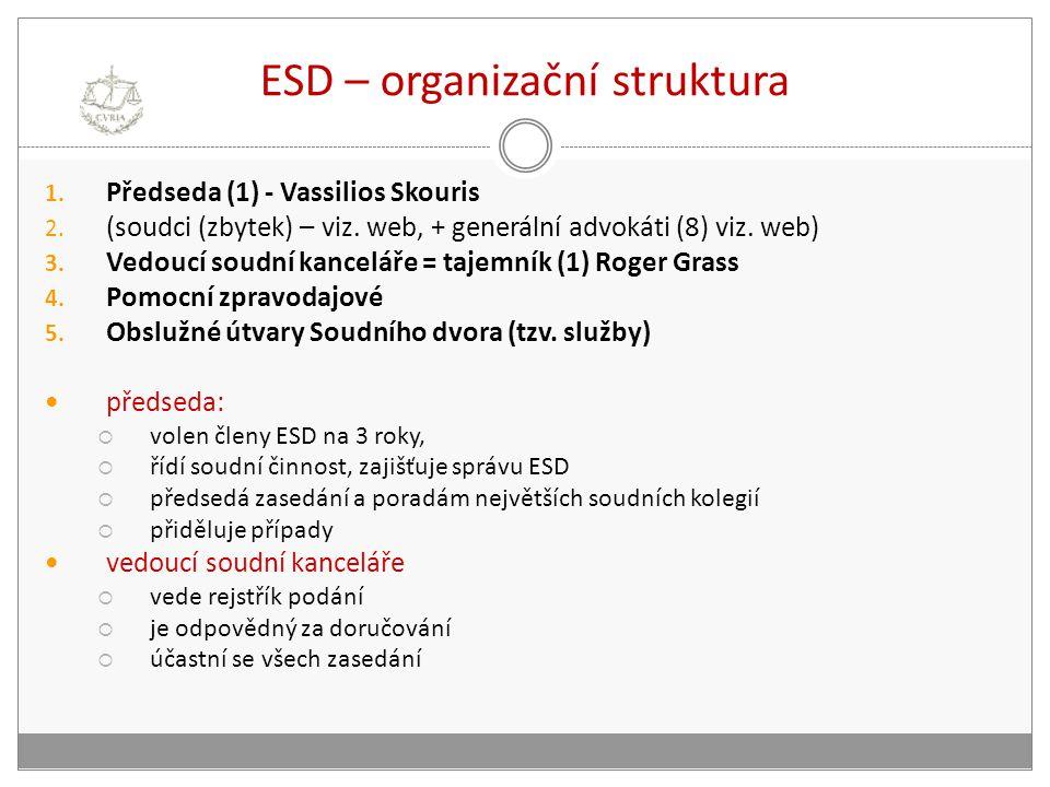 ESD – organizační struktura 1. Předseda (1) - Vassilios Skouris 2. (soudci (zbytek) – viz. web, + generální advokáti (8) viz. web) 3. Vedoucí soudní k