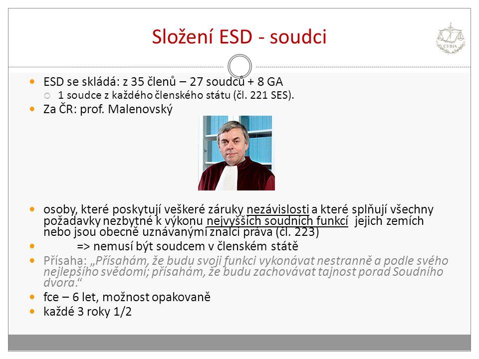 Složení ESD - soudci ESD se skládá: z 35 členů – 27 soudců + 8 GA  1 soudce z každého členského státu (čl. 221 SES). Za ČR: prof. Malenovský osoby, k