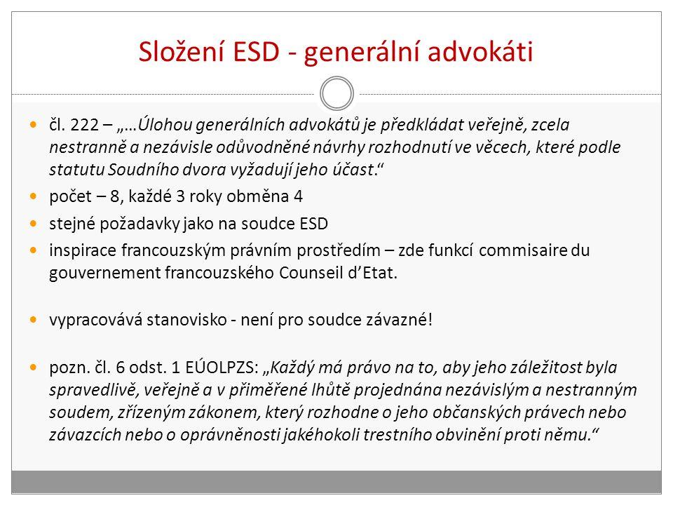 """Složení ESD - generální advokáti čl. 222 – """"…Úlohou generálních advokátů je předkládat veřejně, zcela nestranně a nezávisle odůvodněné návrhy rozhodnu"""