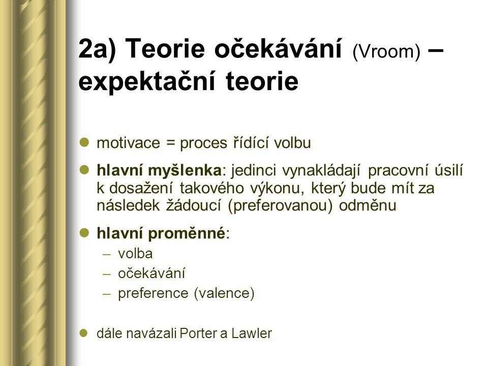 2a) Teorie očekávání (Vroom) – expektační teorie motivace = proces řídící volbu hlavní myšlenka: jedinci vynakládají pracovní úsilí k dosažení takového výkonu, který bude mít za následek žádoucí (preferovanou) odměnu hlavní proměnné: –volba –očekávání –preference (valence) dále navázali Porter a Lawler