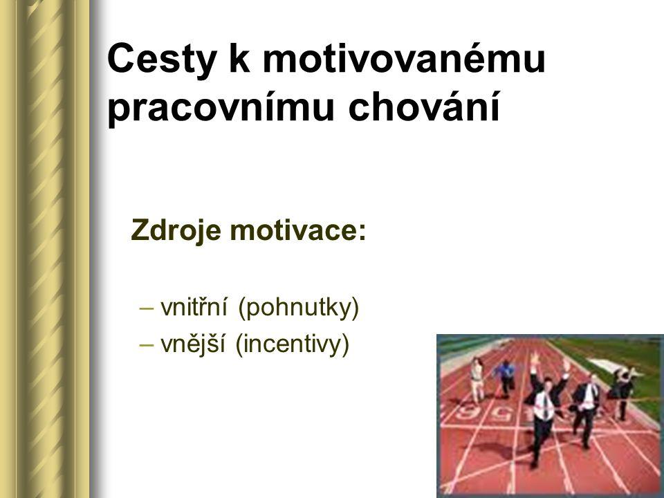Cesty k motivovanému pracovnímu chování Zdroje motivace: –vnitřní (pohnutky) –vnější (incentivy)
