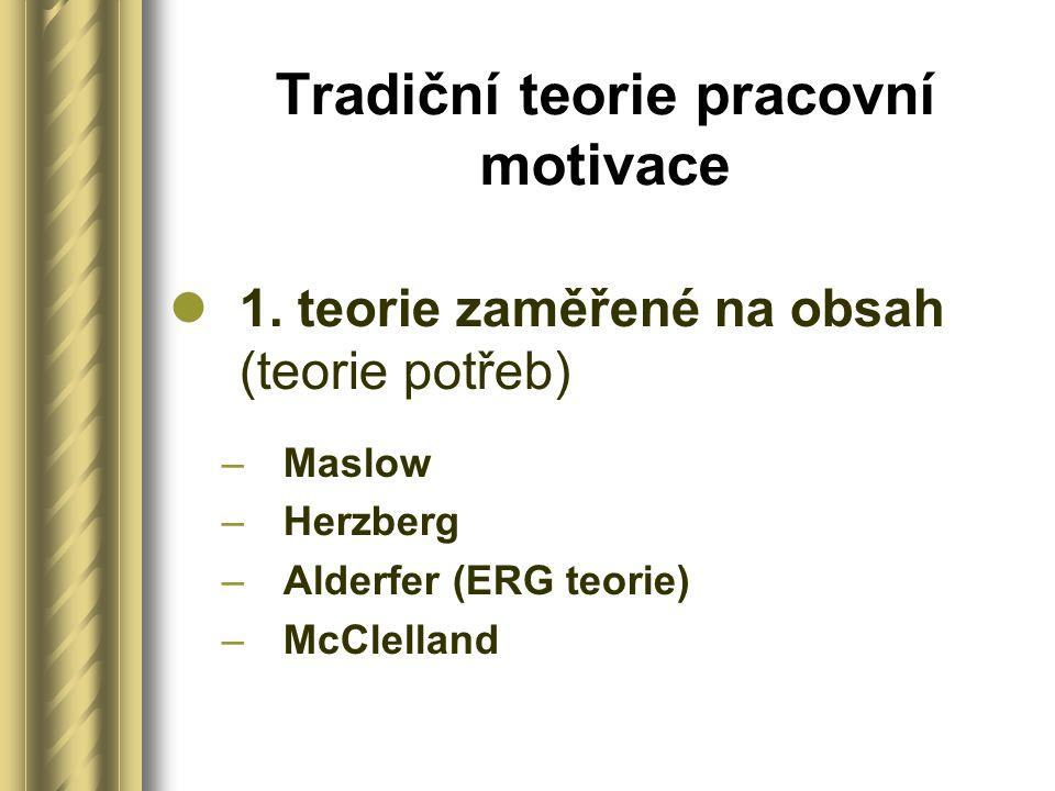 Tradiční teorie pracovní motivace 1.
