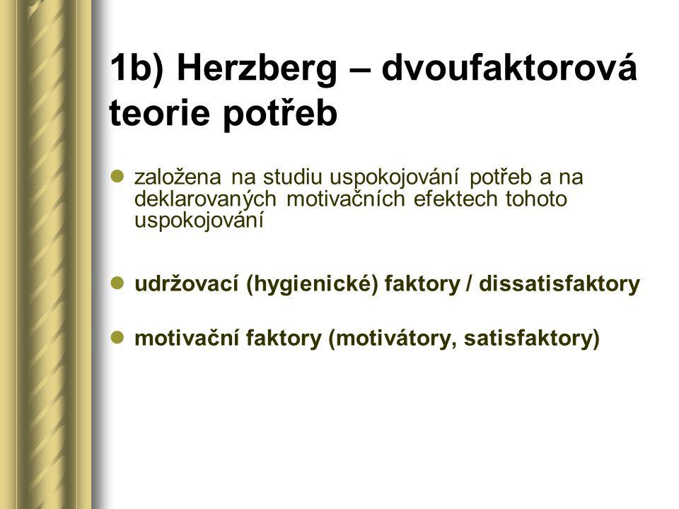 1b) Herzberg – dvoufaktorová teorie potřeb založena na studiu uspokojování potřeb a na deklarovaných motivačních efektech tohoto uspokojování udržovací (hygienické) faktory / dissatisfaktory motivační faktory (motivátory, satisfaktory)