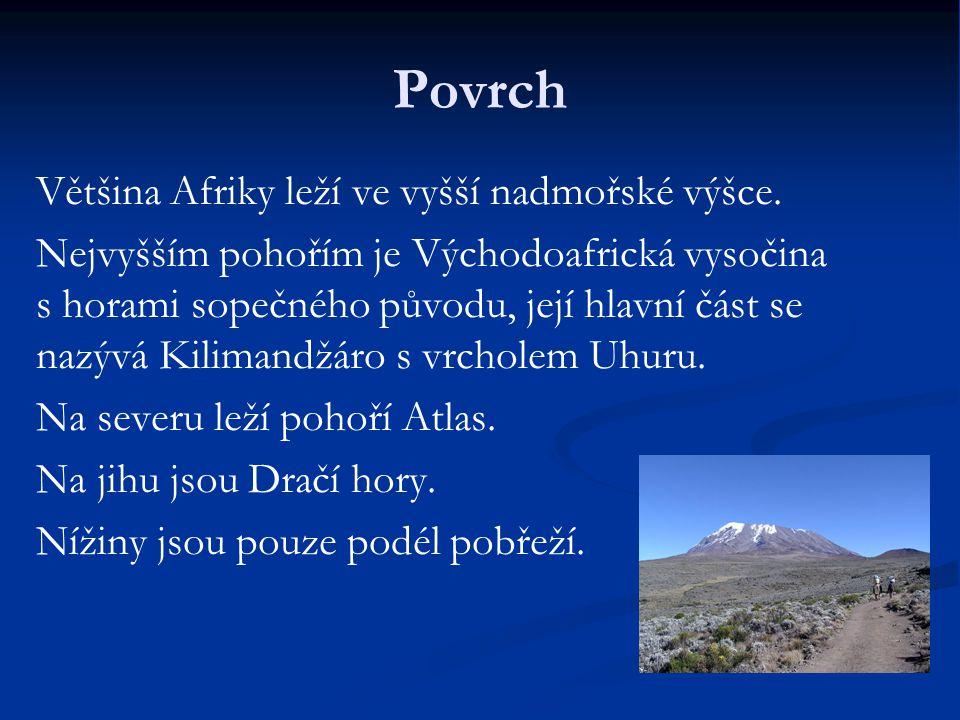 Povrch Většina Afriky leží ve vyšší nadmořské výšce. Nejvyšším pohořím je Východoafrická vysočina s horami sopečného původu, její hlavní část se nazýv
