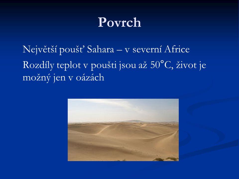 Povrch Největší poušť Sahara – v severní Africe Rozdíly teplot v poušti jsou až 50°C, život je možný jen v oázách