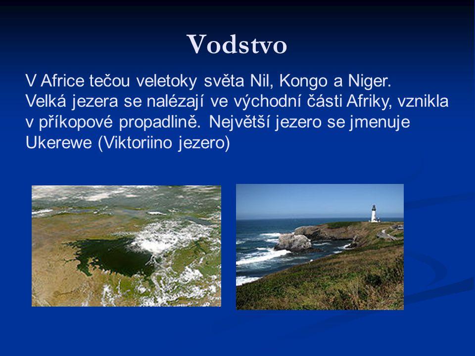 Vodstvo V Africe tečou veletoky světa Nil, Kongo a Niger. Velká jezera se nalézají ve východní části Afriky, vznikla v příkopové propadlině. Největší