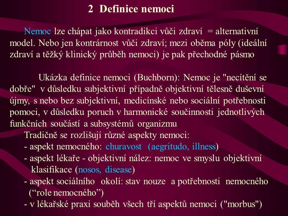 2 Definice nemoci Nemoc lze chápat jako kontradikci vůči zdraví = alternativní model. Nebo jen kontrárnost vůči zdraví; mezi oběma póly (ideální zdrav