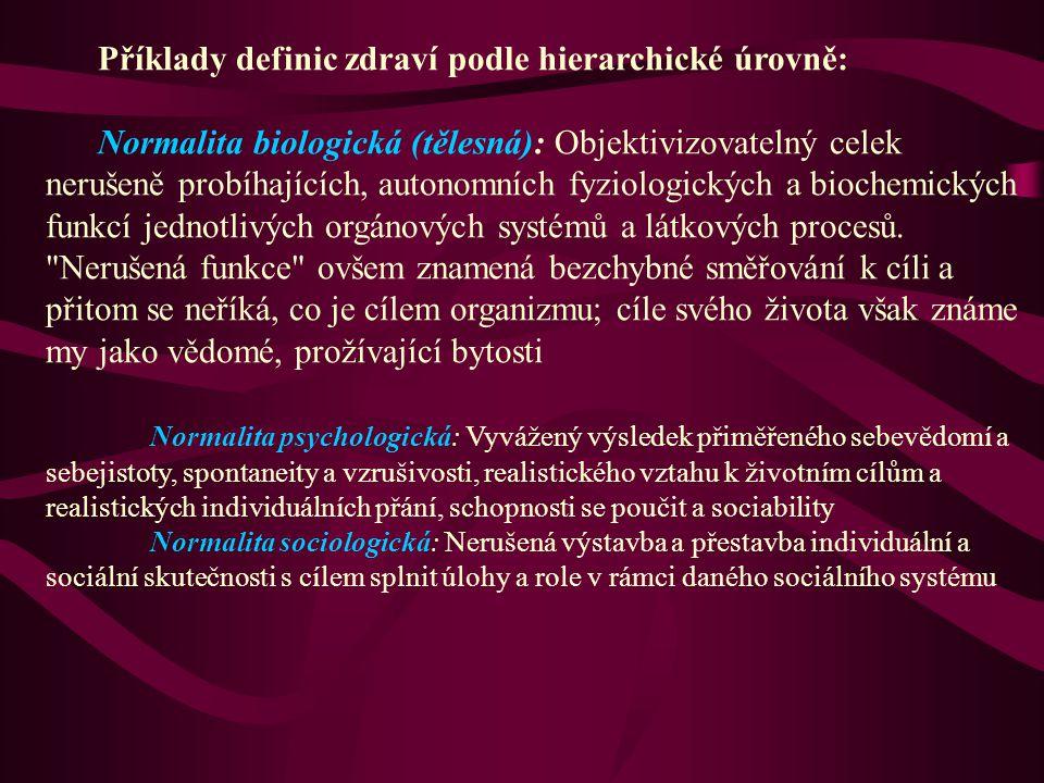 Příklady definic zdraví podle hierarchické úrovně: Normalita biologická (tělesná): Objektivizovatelný celek nerušeně probíhajících, autonomních fyziol