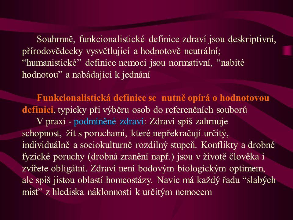 """Souhrnně, funkcionalistické definice zdraví jsou deskriptivní, přírodovědecky vysvětlující a hodnotově neutrální; """"humanistické"""" definice nemoci jsou"""