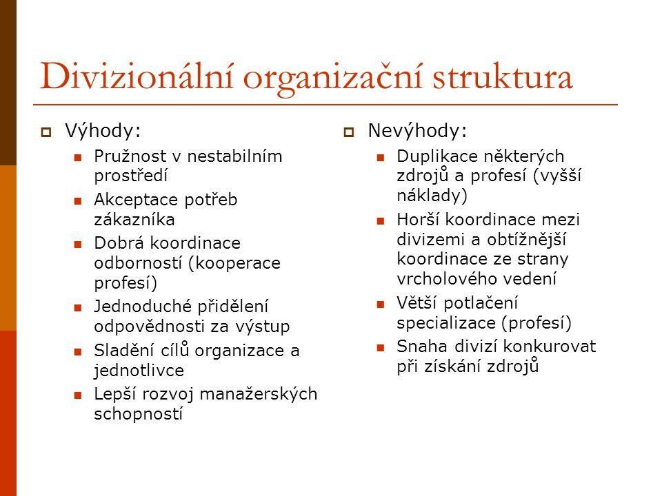 Divizionální organizační struktura  Výhody: Pružnost v nestabilním prostředí Akceptace potřeb zákazníka Dobrá koordinace odborností (kooperace profesí) Jednoduché přidělení odpovědnosti za výstup Sladění cílů organizace a jednotlivce Lepší rozvoj manažerských schopností  Nevýhody: Duplikace některých zdrojů a profesí (vyšší náklady) Horší koordinace mezi divizemi a obtížnější koordinace ze strany vrcholového vedení Větší potlačení specializace (profesí) Snaha divizí konkurovat při získání zdrojů