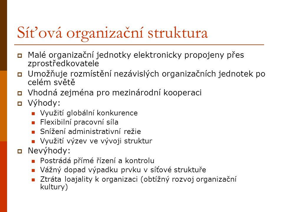 Síťová organizační struktura  Malé organizační jednotky elektronicky propojeny přes zprostředkovatele  Umožňuje rozmístění nezávislých organizačních