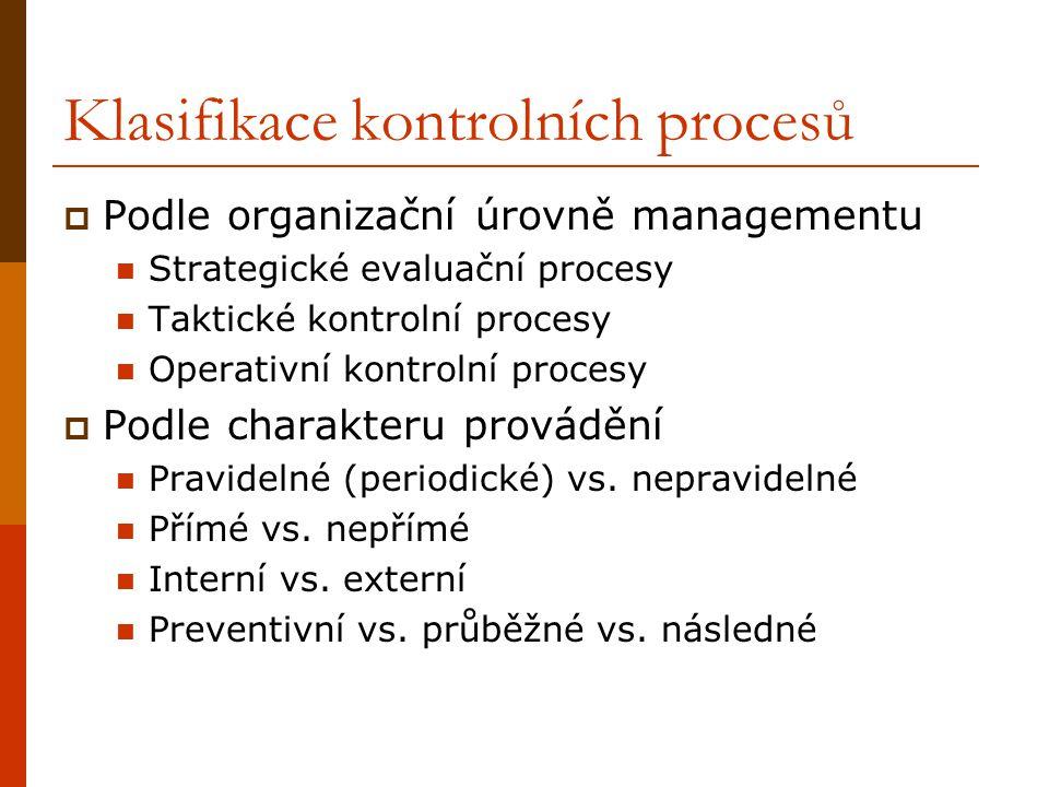Klasifikace kontrolních procesů  Podle organizační úrovně managementu Strategické evaluační procesy Taktické kontrolní procesy Operativní kontrolní p